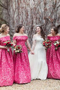 bride bridesmaids carlowrie castle laughing