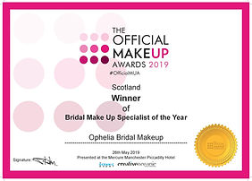 Certificate Ophelia Bridal - OMUA 2019-p