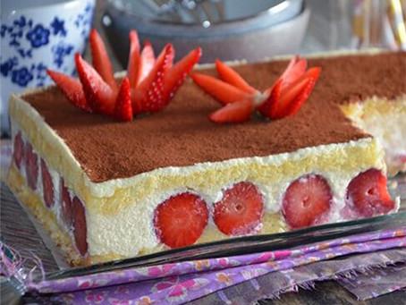 Gâteau tiramisu aux fraises (sans gélatine)