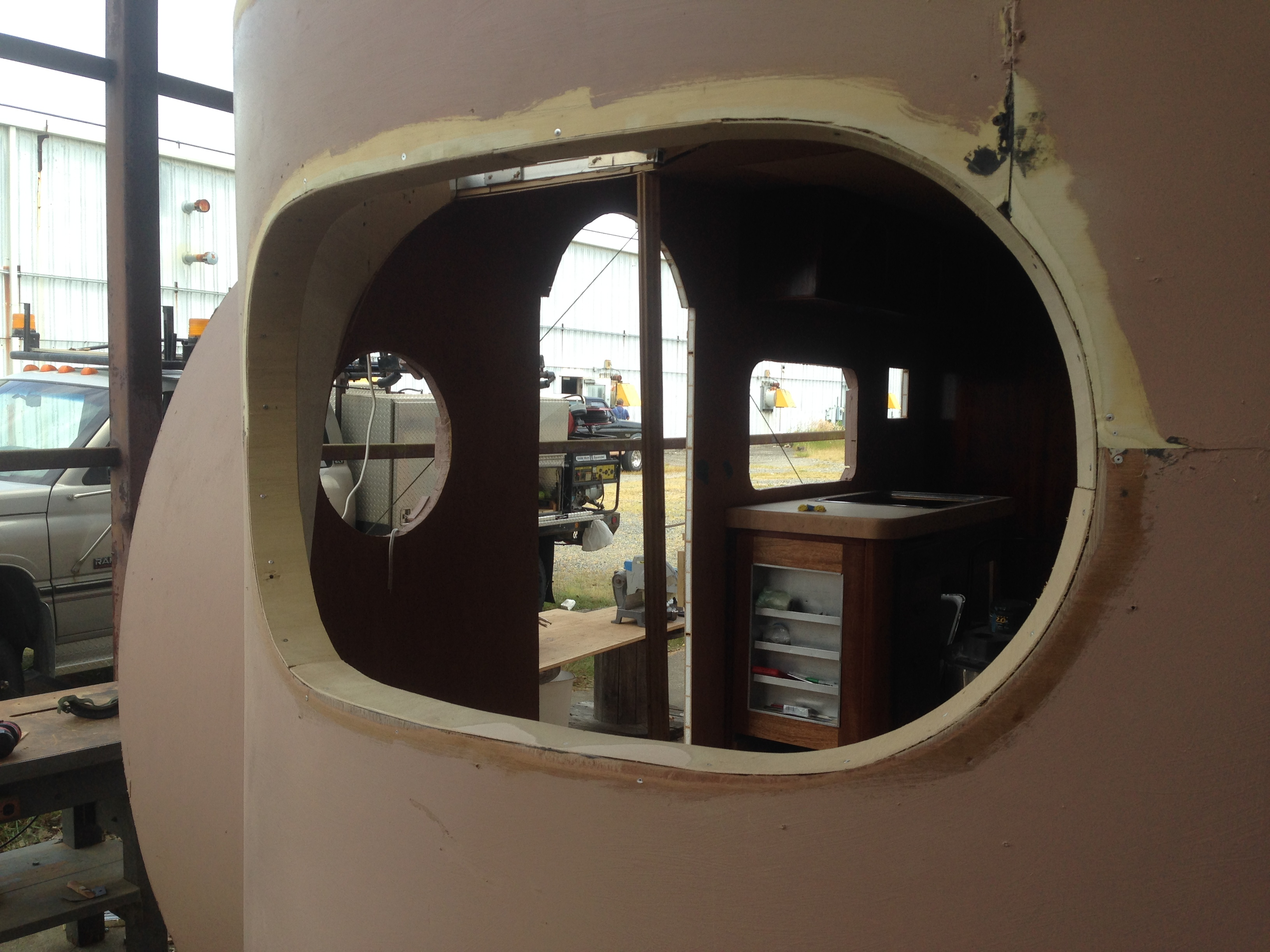 Plywood trim for front window