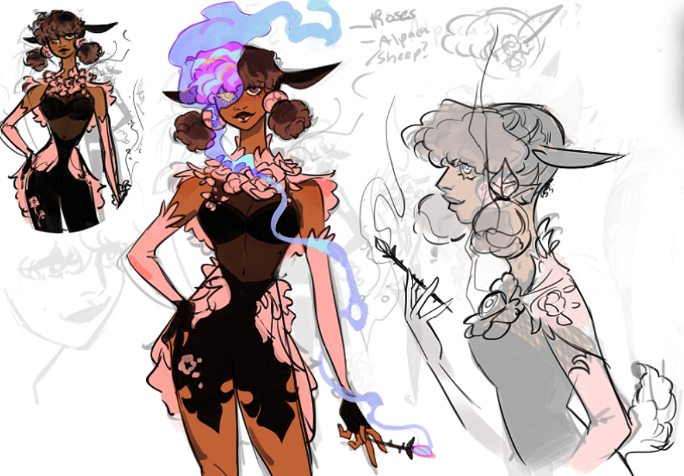 Concept of a new upcoming hero. She is wearing sexy clothes with theme of roses, and has a flower on the hands creating a strange smoke
