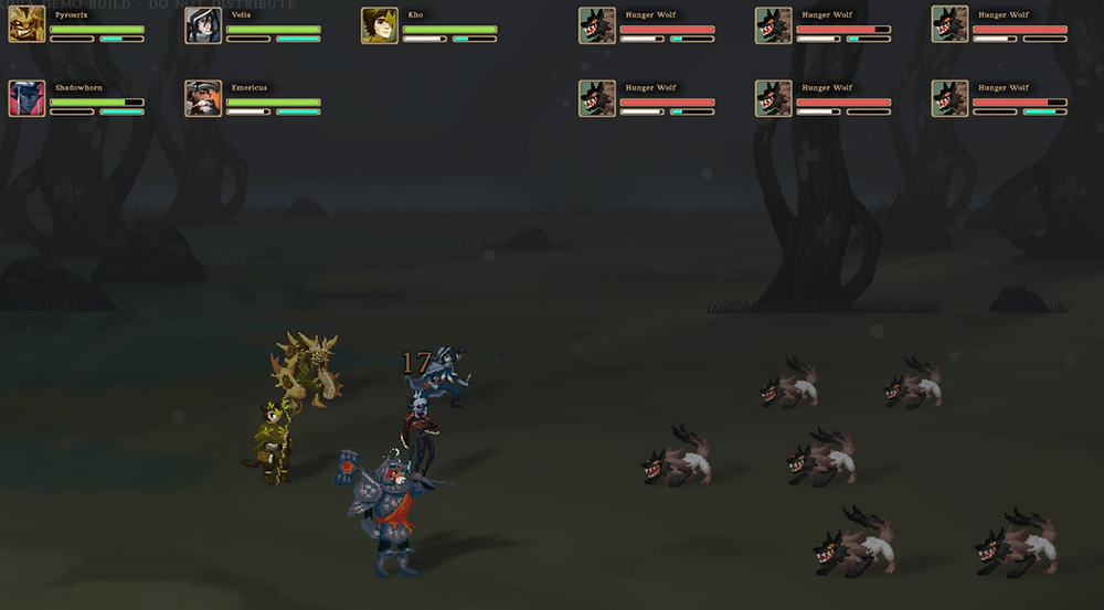 capture from a battle where five of the heroes of Kilta fight against six wolves