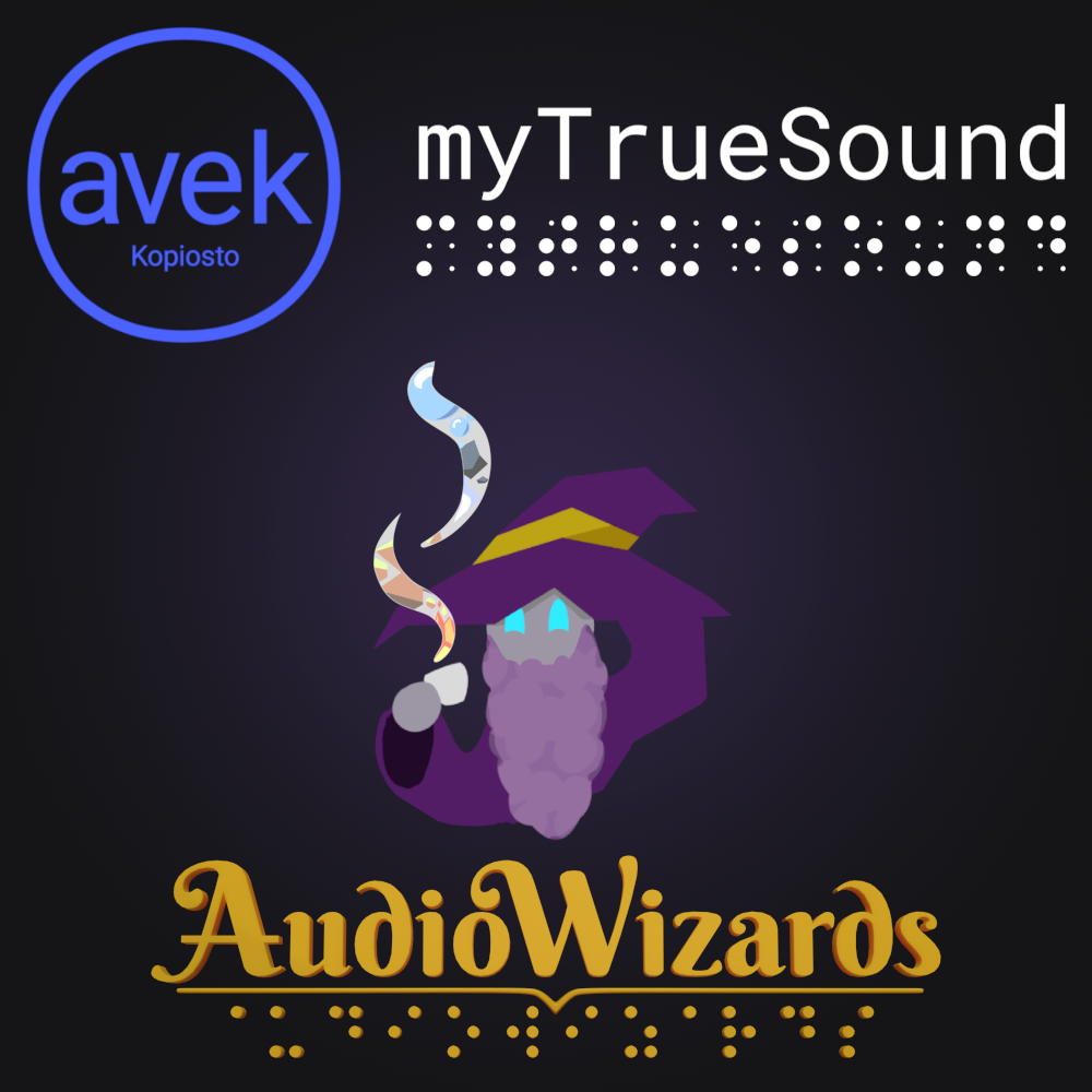 Picture with the logos of AVEK, myTrueSound, and AudioWizards, and the company of Soundaman holding a cup of tea