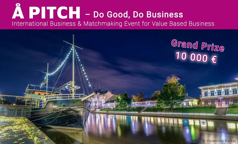Promotional picture of the Å pitch event, with a picture of the Aura river at night and some nice colors all around