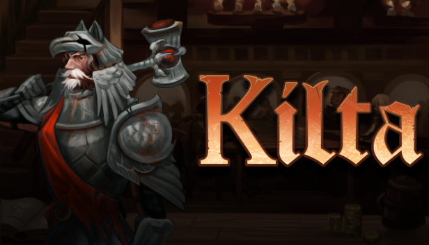 Logo of Kilta with Emericus, one of the available heroes, holds his hammer.