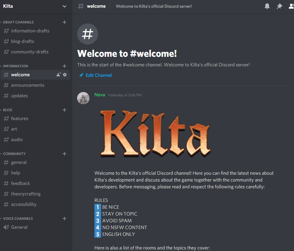 capture of the Kilta's discord server fron page