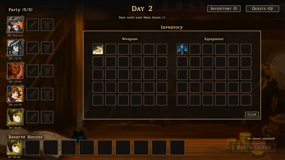 Main guild screen, with heroes and inventory menus open.