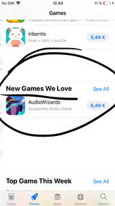 """Screen capture from the App Store with our game and the words """"New Games We Like"""""""