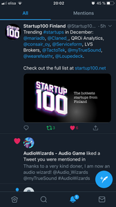Screen Capture from the Tweeter news feed where Startup100 Finland announces the hottest companies for December 2019