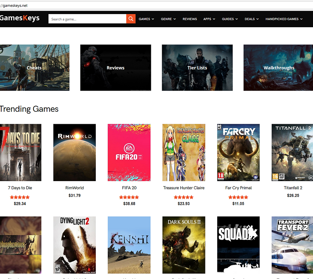 screen capture of the front page of gamekeys.net with the front-art of other famous titles