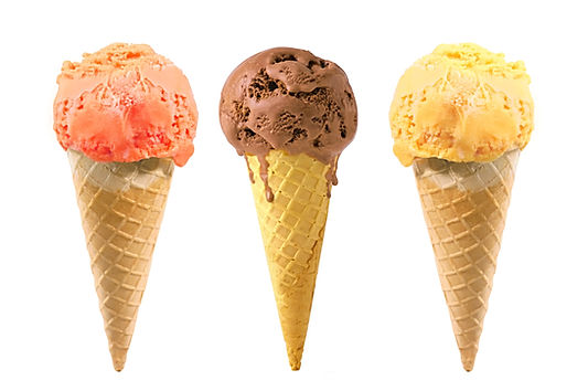 Mango ice cream, chocolate ice cream, vanilla ice cream.