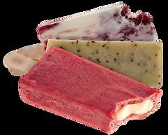 Paleta de fresa con crema, cookies and cream ice crea bar.