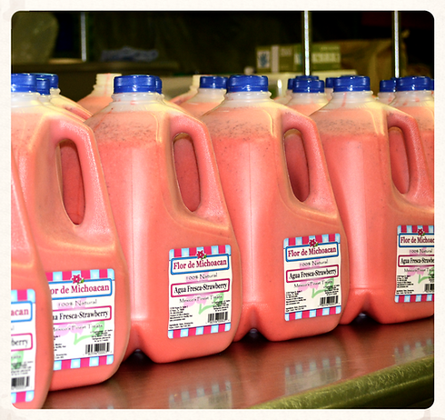 Handmade, natural and refreshing strawberry agua fresca concentrate