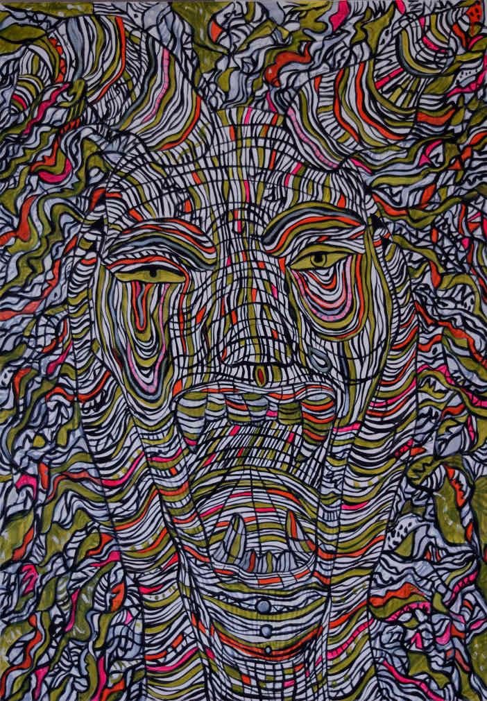 peinture d'un monstre cornu qui hurle
