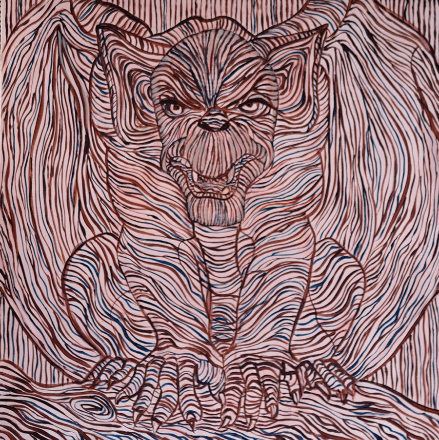 line painting of a gargoyle
