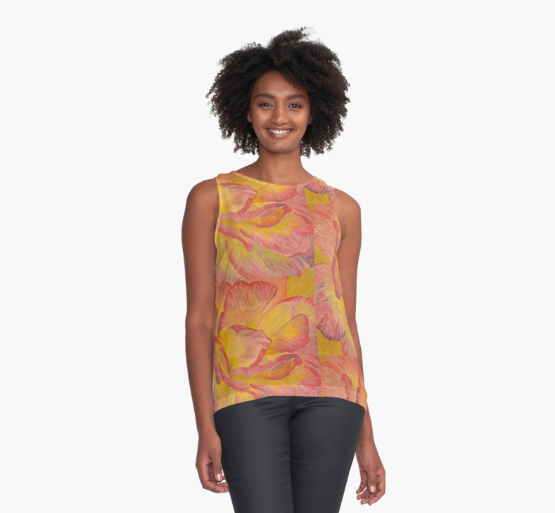 Pink and Yellow Rose top