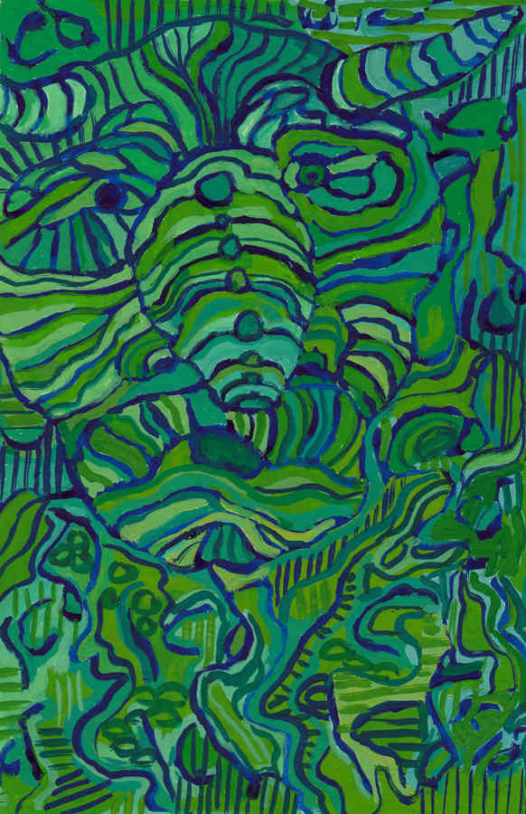 Une gargouille verte avec des cornes