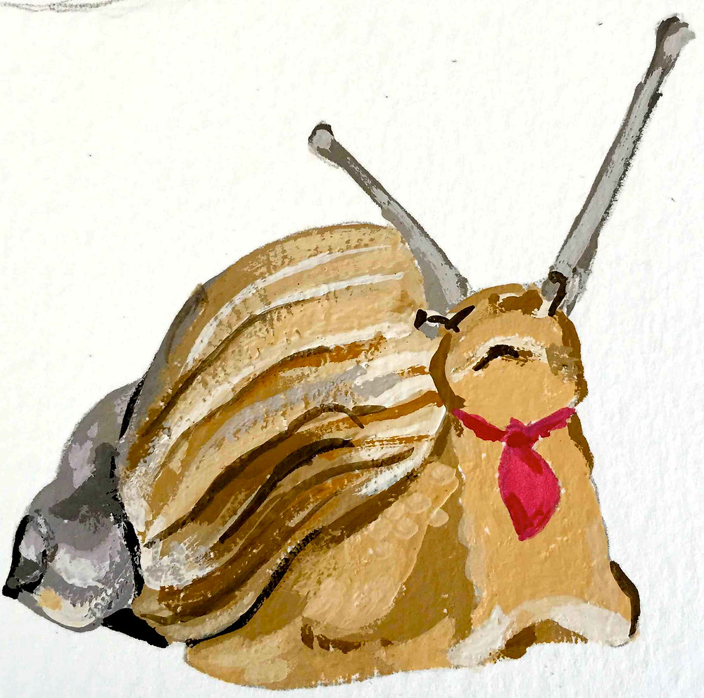 Snail with red scarf