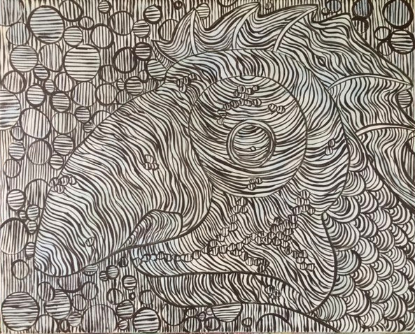 Une peinture en noir et blanc d'une chimère, mi-homme, mi-poisson.