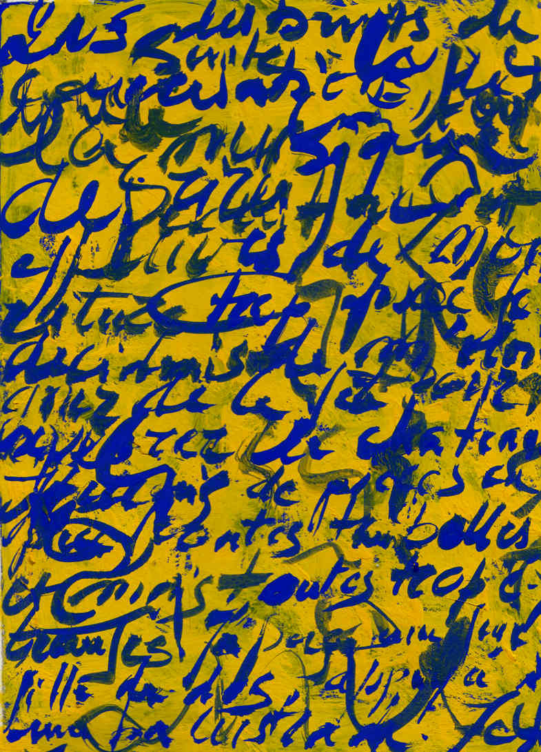 Blue calligraphy on yellow