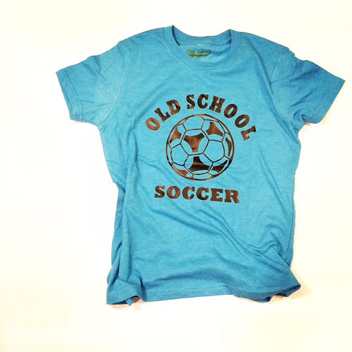 Kids Old School Soccer T-Shirt (Neon Blue shown)