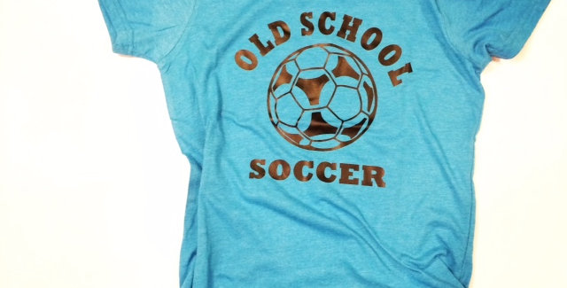 Kids Old School Soccer T-Shirt (Neon Blue shown)