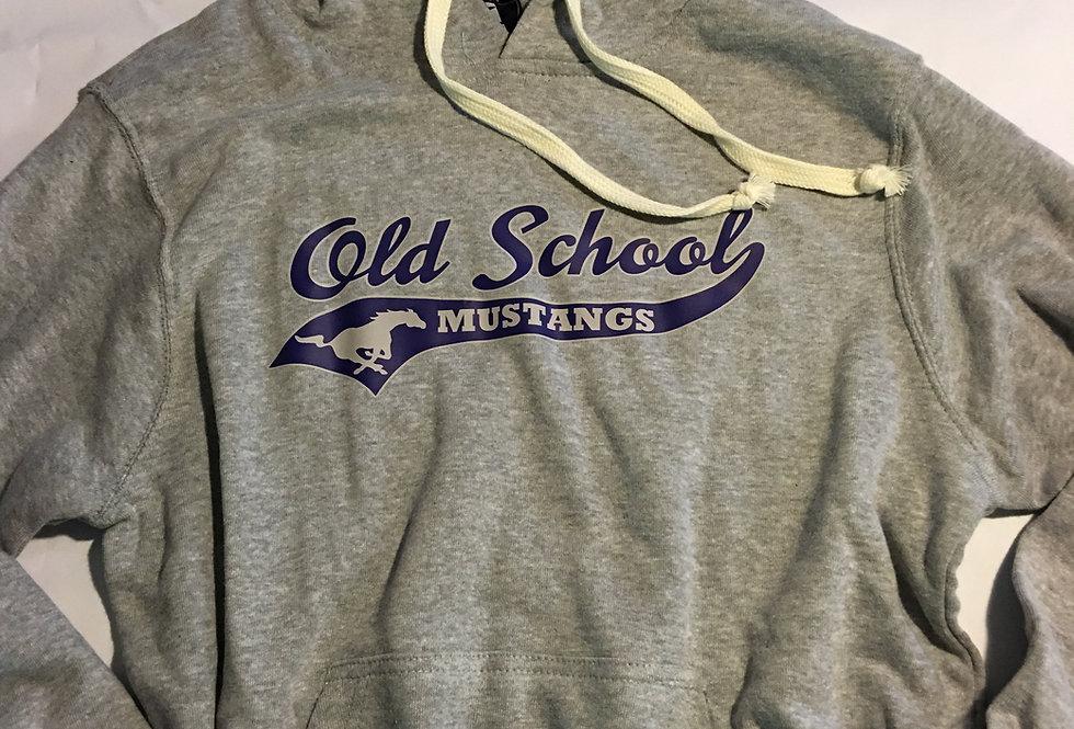 Old School Mustang on Grey Hoodie (thin Tri-blend)