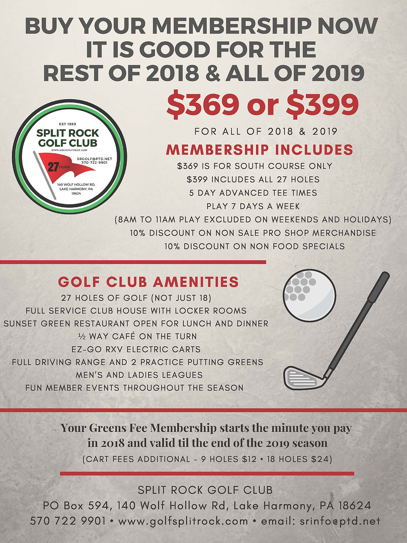 $369 • 2018/2019 South Course Membership