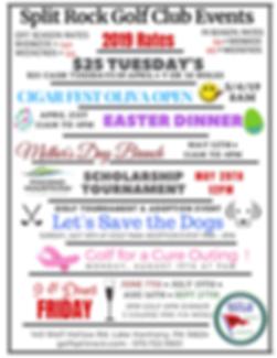 Split Rock Golf Club, sunset green restaurant, Easter Buffet, Mother's Day Buffet, Golf for a Cure