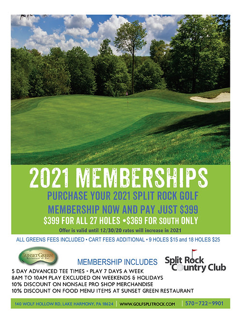 $369 •2021 South Course Membership
