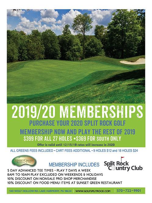 $369 •2019 / 2020 South Course Membership