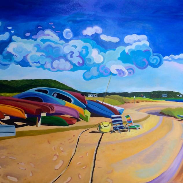 Joanne Bergen, Kayak Beach. oil on panel
