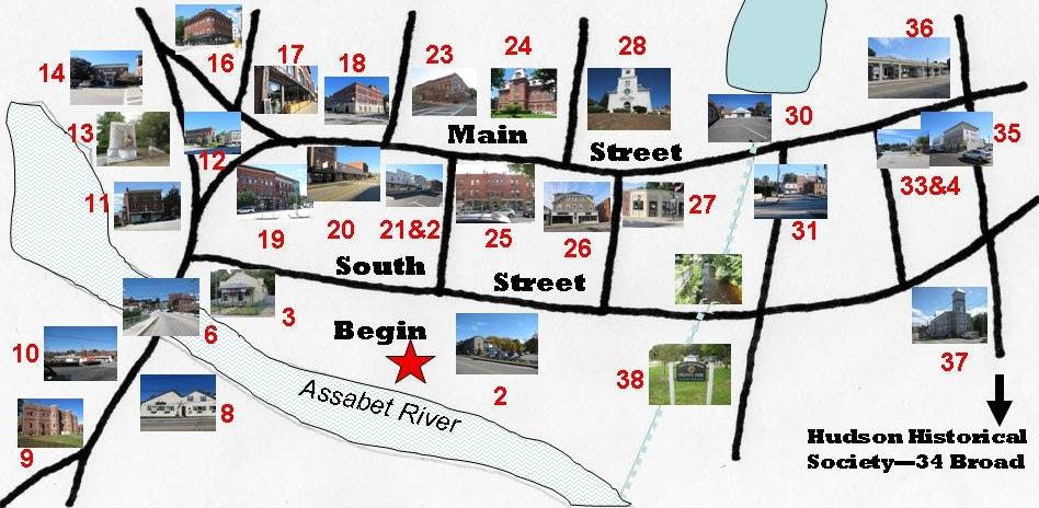 Hudson, MA Walking Tour Map