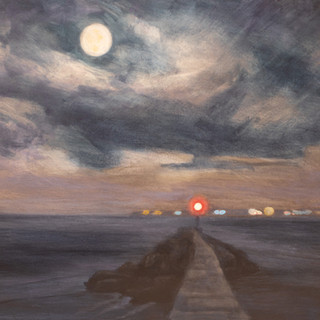 Cynthia Woehrle Full Moon and Distant Lights