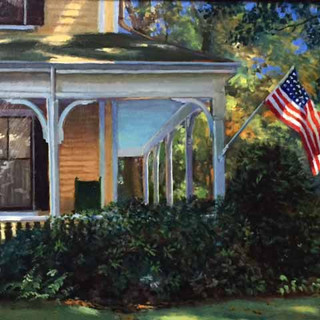 Will Kirkpatrick, House with Flag, oil