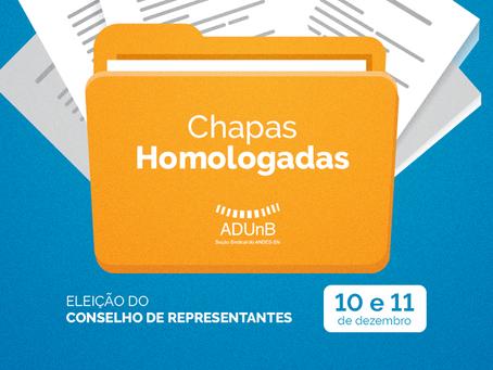 Eleição Conselho de Representantes: Chapas Homologadas