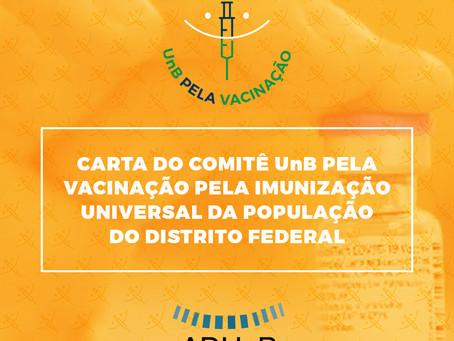 Carta do Comitê UnB pela Vacinação Pela Imunização Universal da População do Distrito Federal