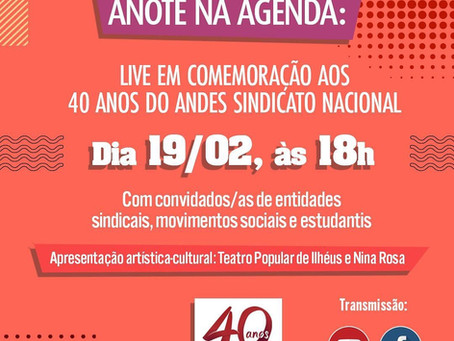 ANDES 40 anos | Participe de live comemorativa nesta sexta(19).