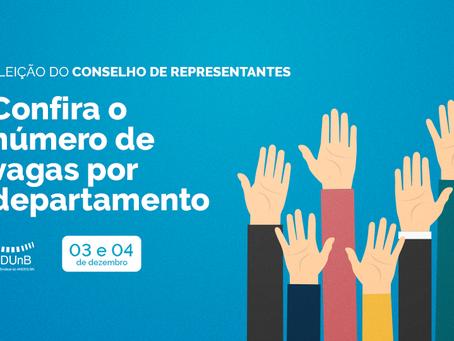 Confira a lista de vagas por departamento para a eleição do Conselho de Representantes