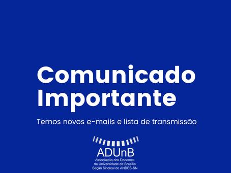 Comunicado importante: alteração de e-mail e lista de comunicação coletiva