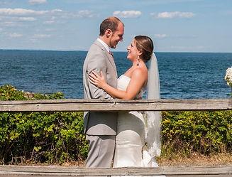Bride and groom on the Maine coast