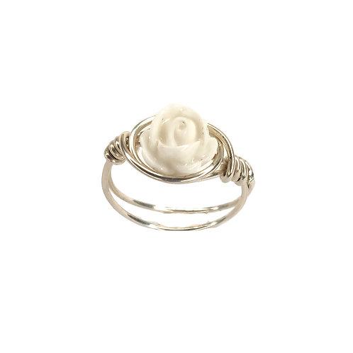 טבעת ורד כסף