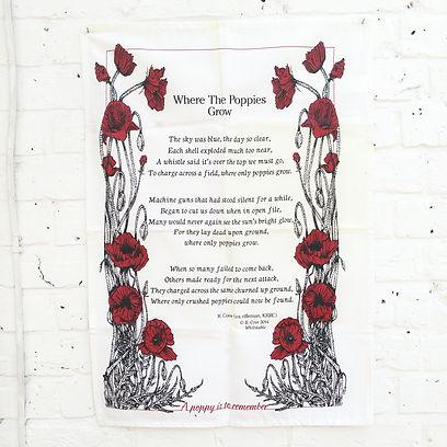 Where Poppies Grow-final screen printed tea towel