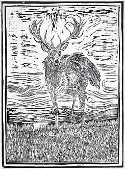 Medieva bestiary-Peryton lino cut