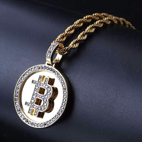 Bitcoin Bling Bling | Golden Bitcoin Coin Pendant Necklace | Rapper Jewelry