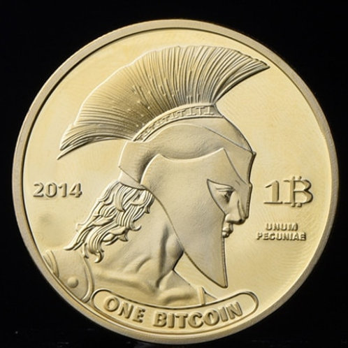 Gold Plated Titan Commemorative Bitcoin Coin | Physical Antique Imitation Coin