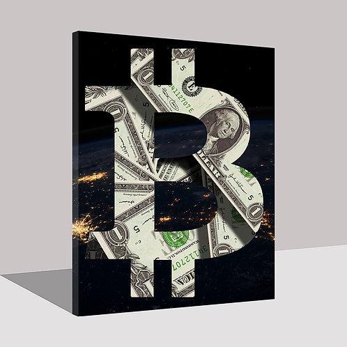 US Dollar Bitcoin Wall Art | Modular Canvas | Bitcoin Symbol | BTC | USD