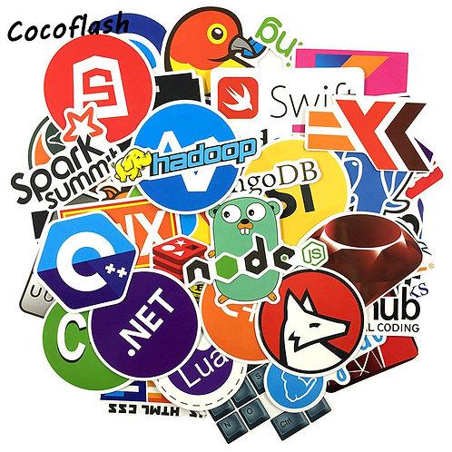 73 Piece Sticker Pack | Internet Java JS Php Html Cloud Docker Bitcoin APP