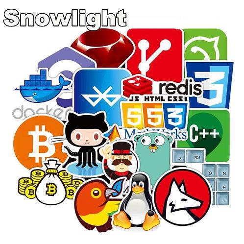 72 Piece Sticker Set | Internet Java Sticker Programmer Html Bitcoin Cloud C++