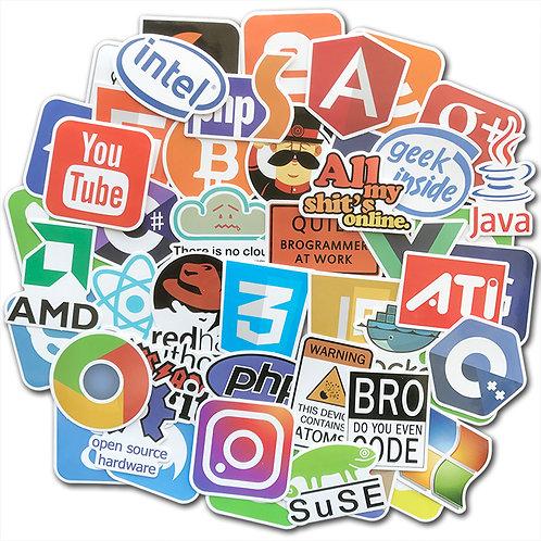 50 Piece Sticker Pack   Bitcoin Programming Internet Java Php Html Cloud Docker
